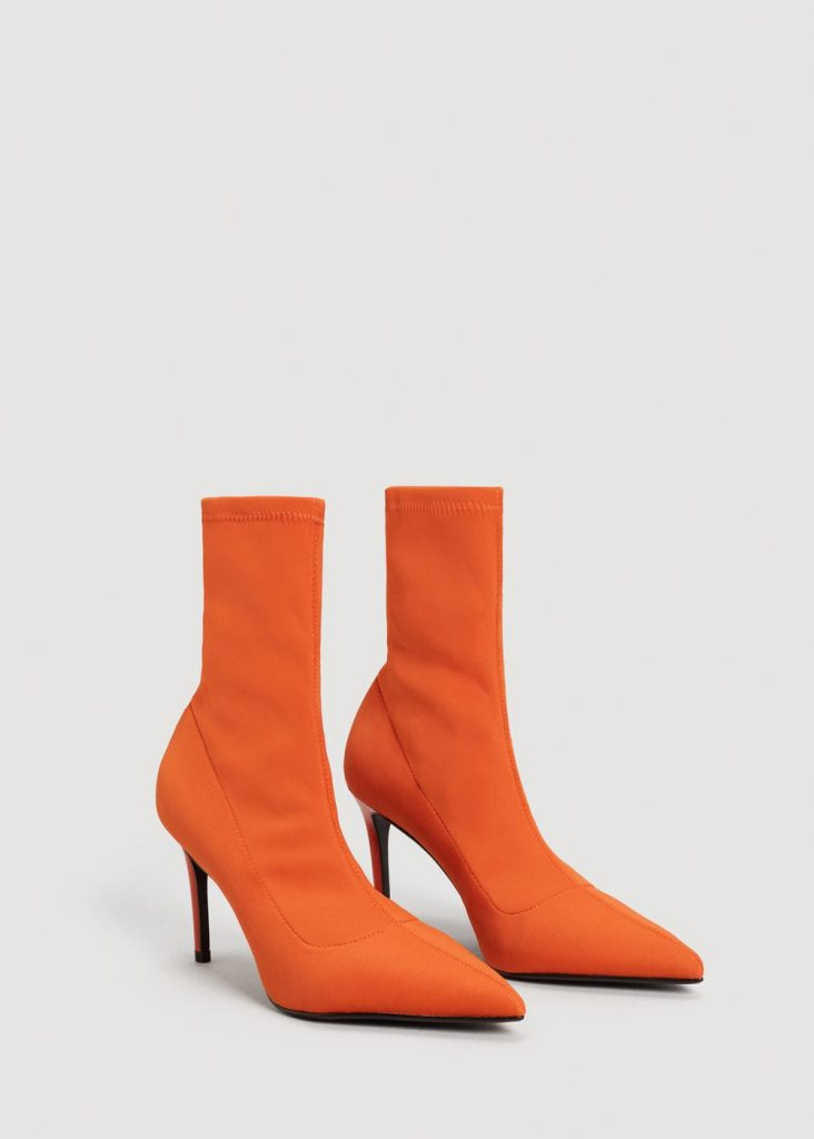 Bottines à talons orange – Mango – 49,99€ (photo   mango.com) © Mango ... 86e75effee13