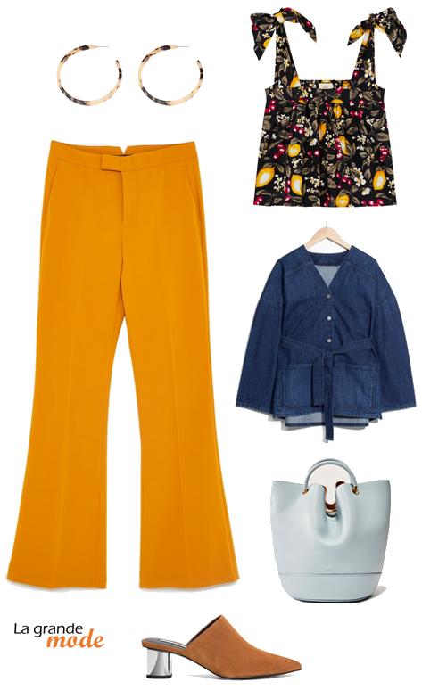 La Grande Mode - Idée look avec pantalon à couleur - Tendance mode printemps 2018