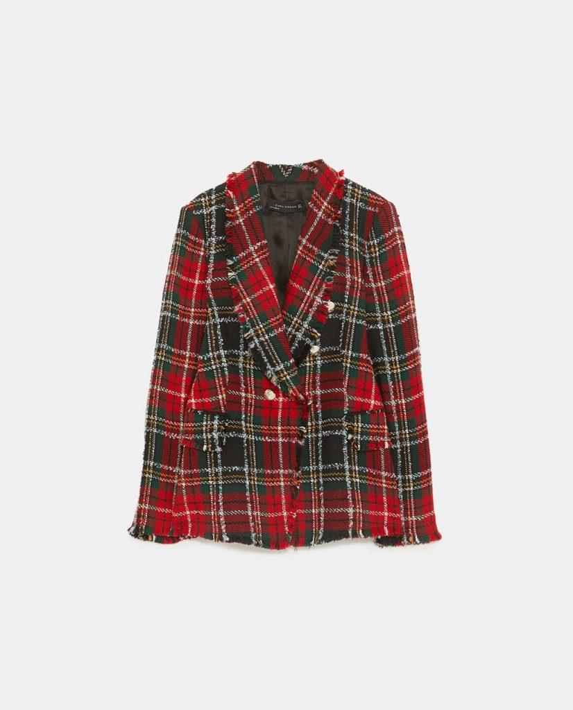 À Veste Tweed Mode La Carreaux Grande Zara En vnON80mw