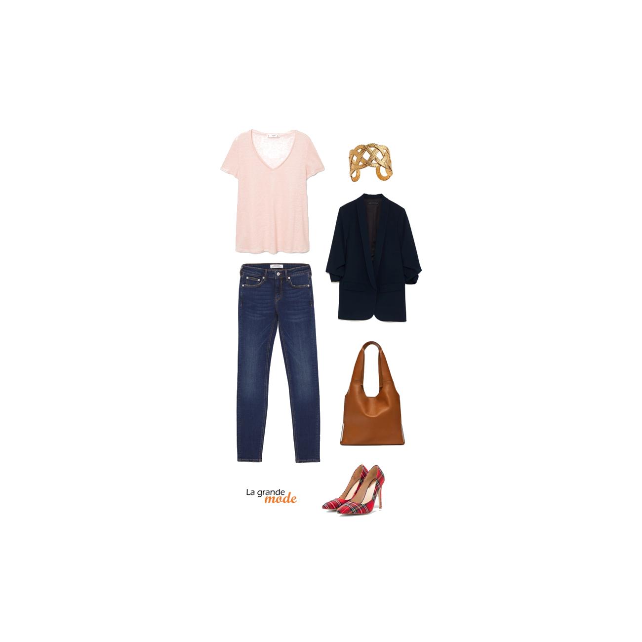 La Grande Mode - Idée look jean brut, blazer loose & escarpins à imprimé écossais - Tendance mode automne hiver 2018