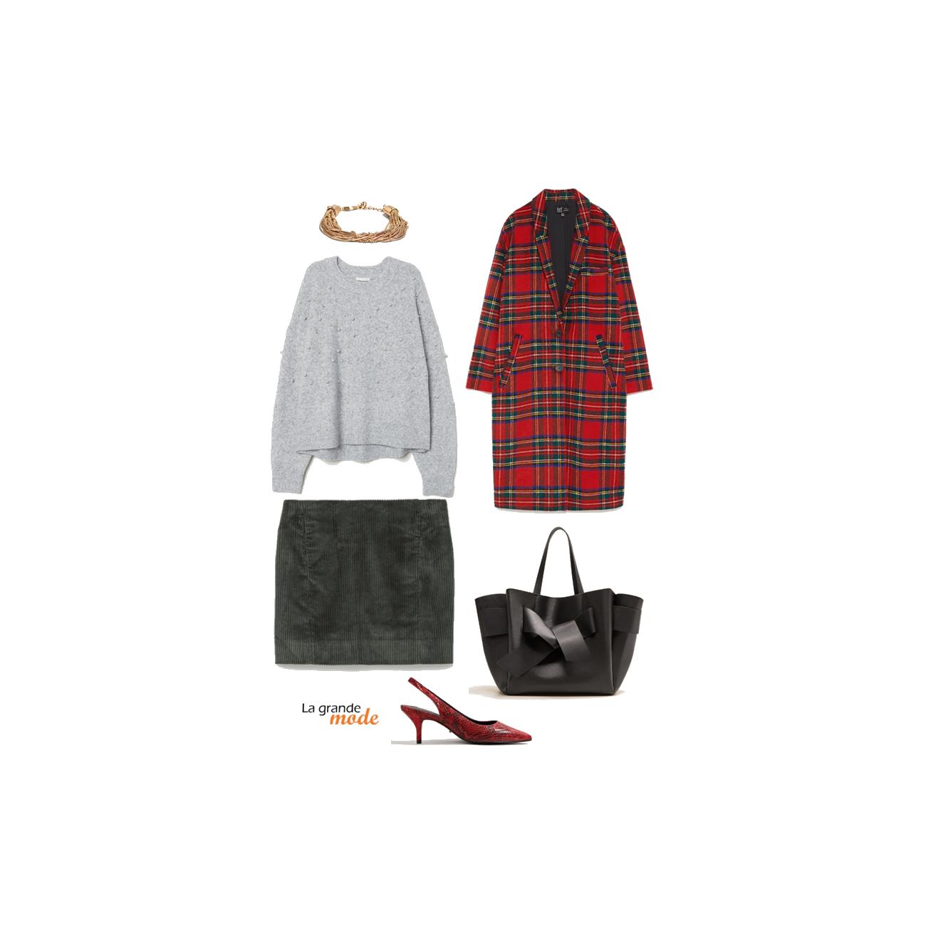 La Grande Mode - Idée look manteau tartan - Tendances mode automne hiver 2018