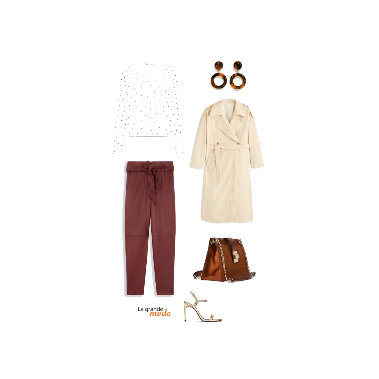 La Grande Mode - Idée look avec un trench et un pantalon en cuir - Tendance mode printemps été 2019 - SS2019