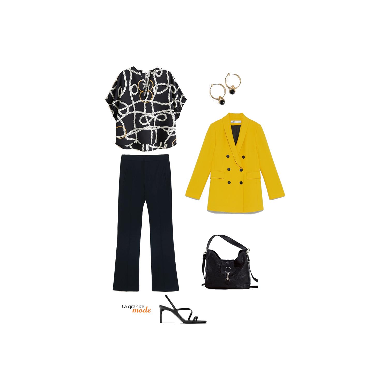 La Grande Mode - Idée look avec un blazer jaune - Tendance Mode Printemps été 2019 - SS2019