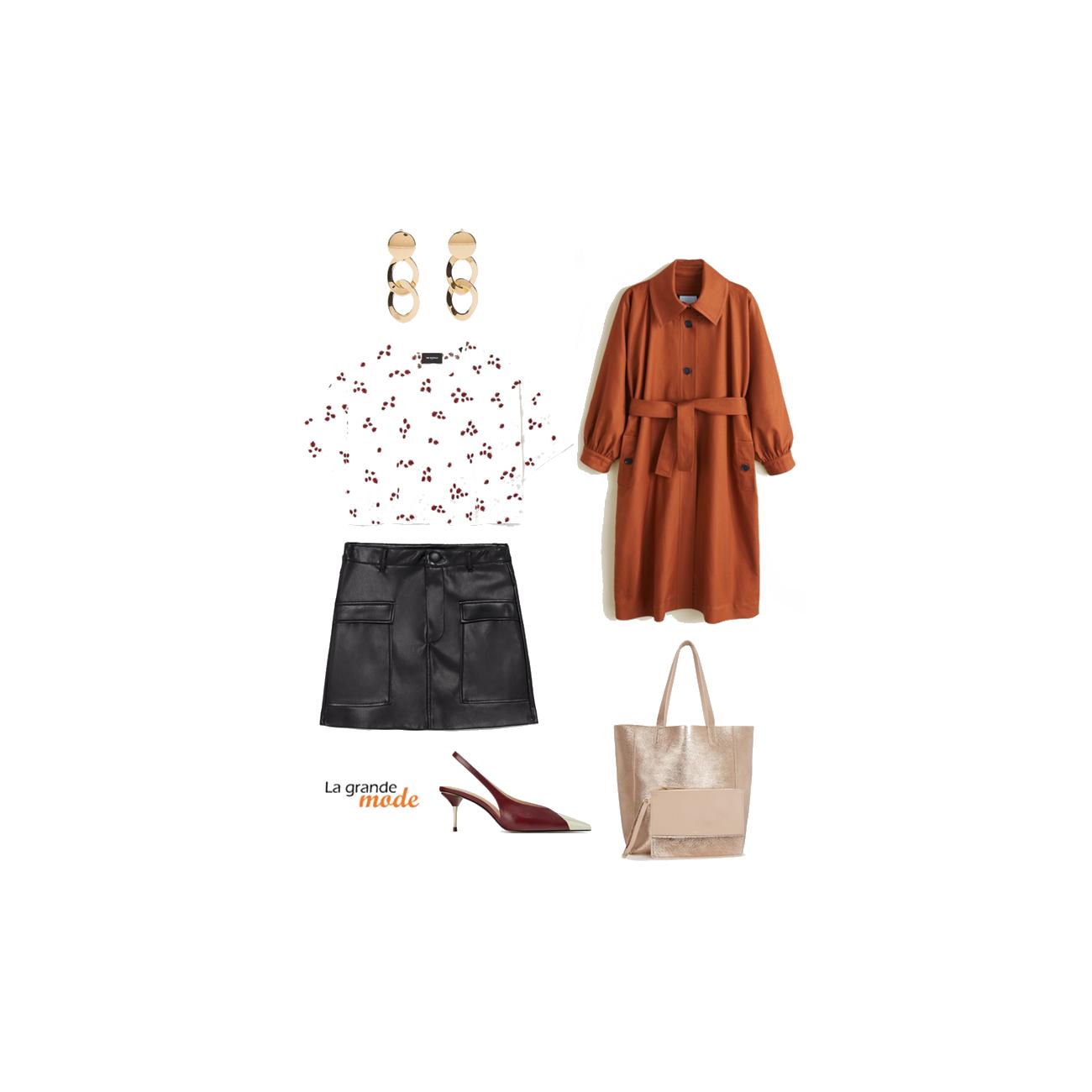 La Grande Mode - Idée look avec un trench et une jupe en simili cuir - Tendance mode printemps été 2019