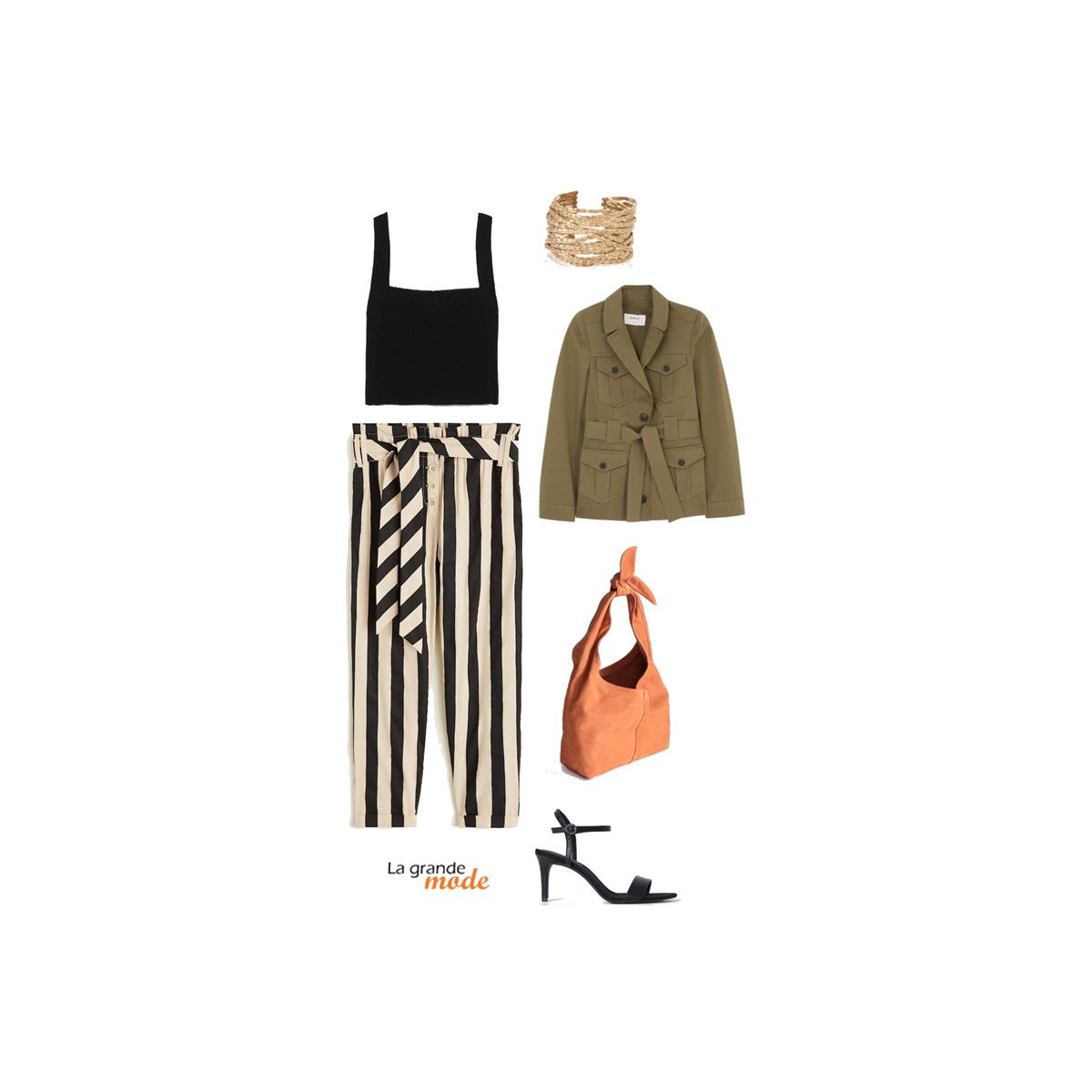 La Grande Mode - Idée look avec un pantalon rayé et une veste saharienne - SS209 - Tendance Mode printemps été 2019