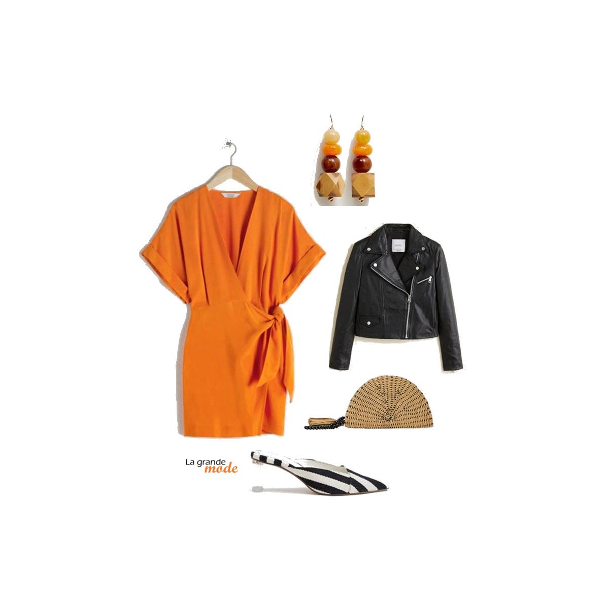 La Grande Mode - Idée look avec une robe orange - Tendance mode printemps été 2019
