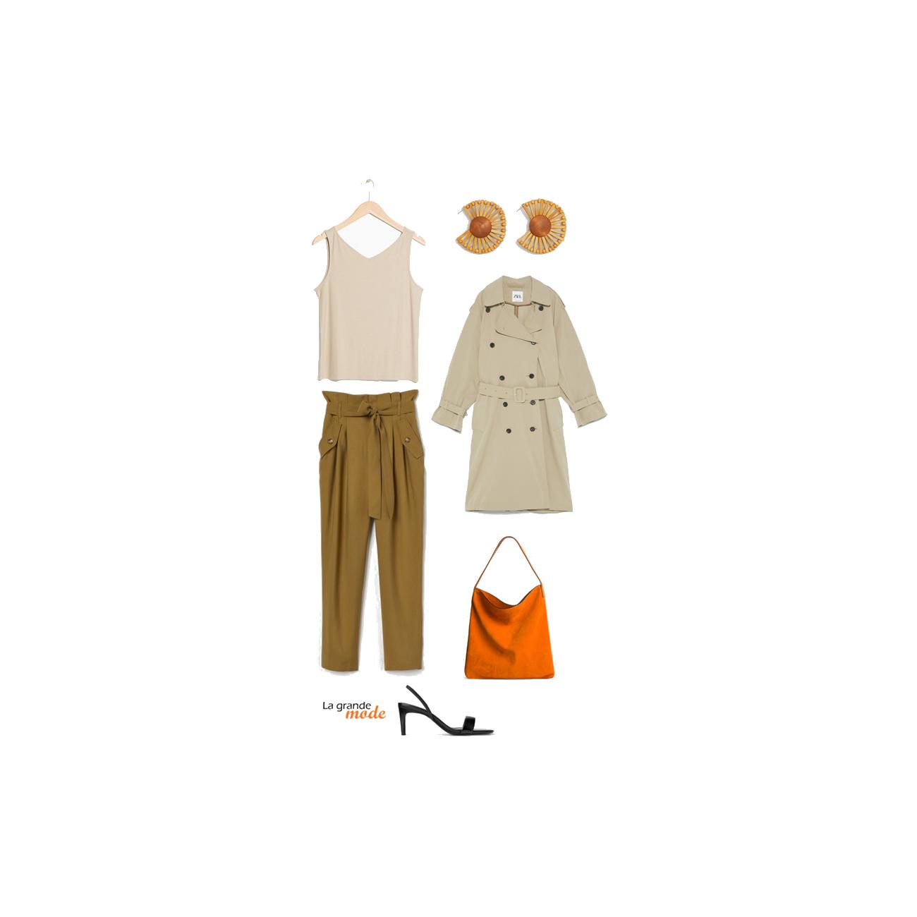 La Grande Mode - Idée look avec un pantalon paper bag kaki - Tendance mode printemps été 2019