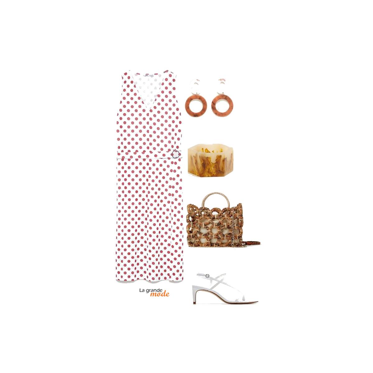 La Grande Mode - Idée look avec une robe à pois et un panier - Tendance mode printemps été 2019