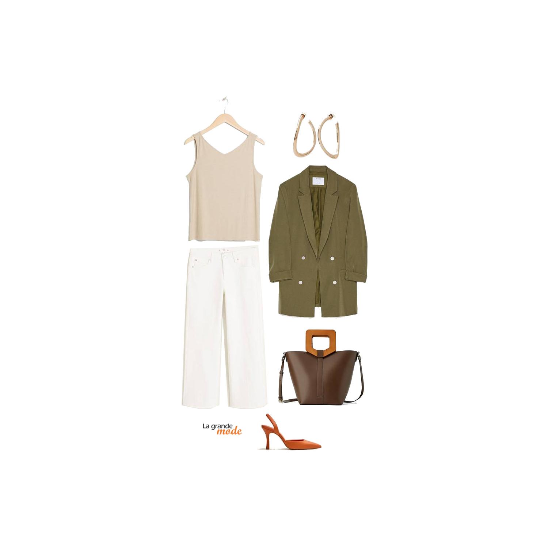 La Grande Mode - Idée look avec un jean blanc & une veste kaki - Tendance mode printemps été 2019