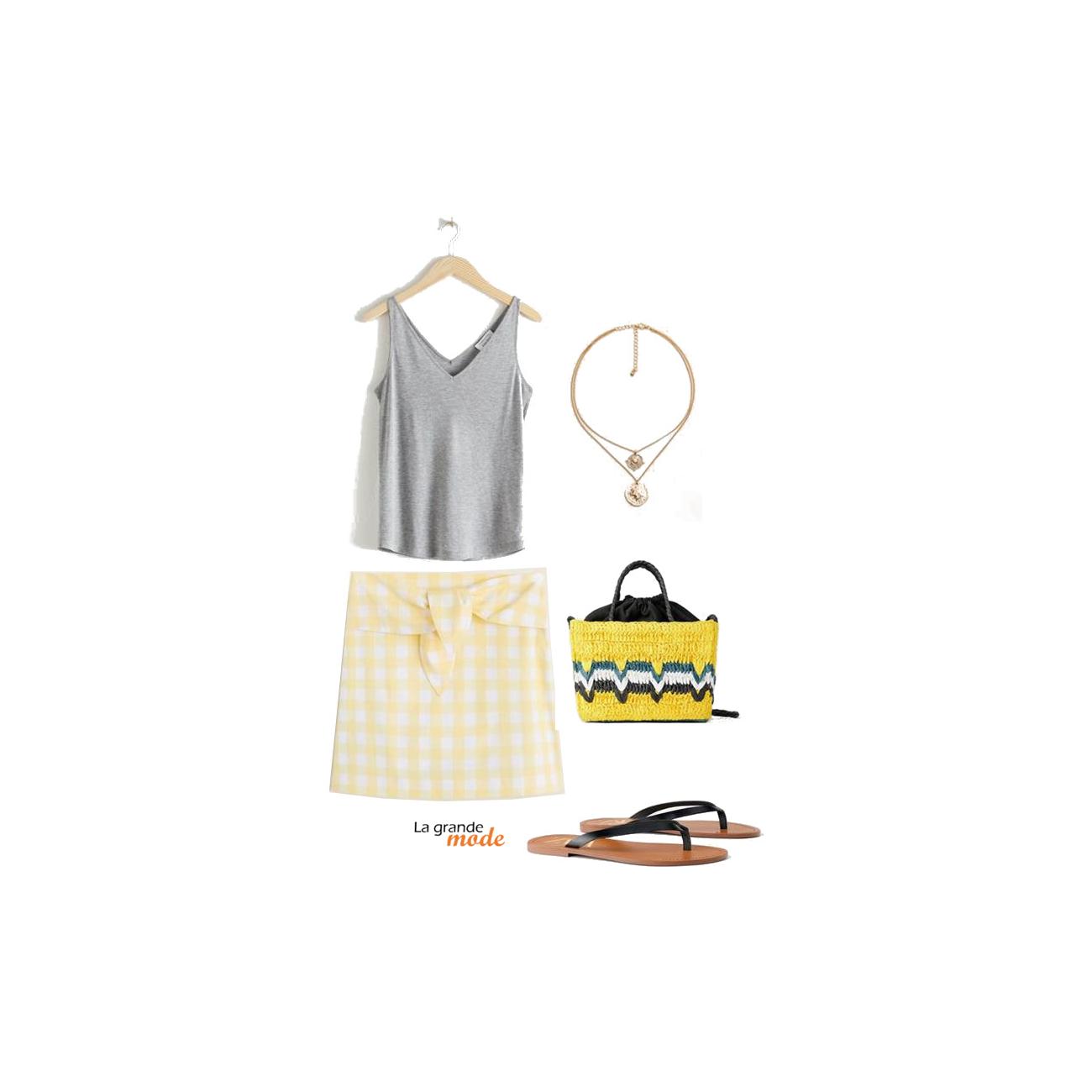 La Grande Mode - Idée look avec une jupe vichy - Tendance mode printemps été 2019 - SS2019 SS19