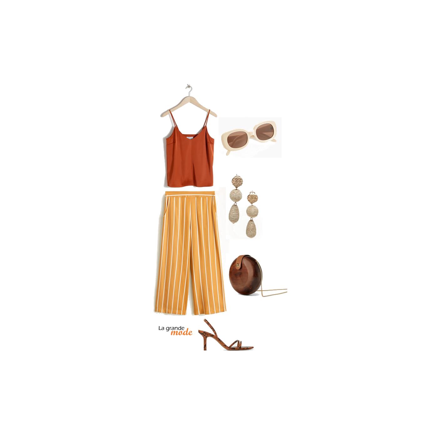 La Grande Mode - Idée look avec un pantalon rayé - Tendance mode printemps été 2019