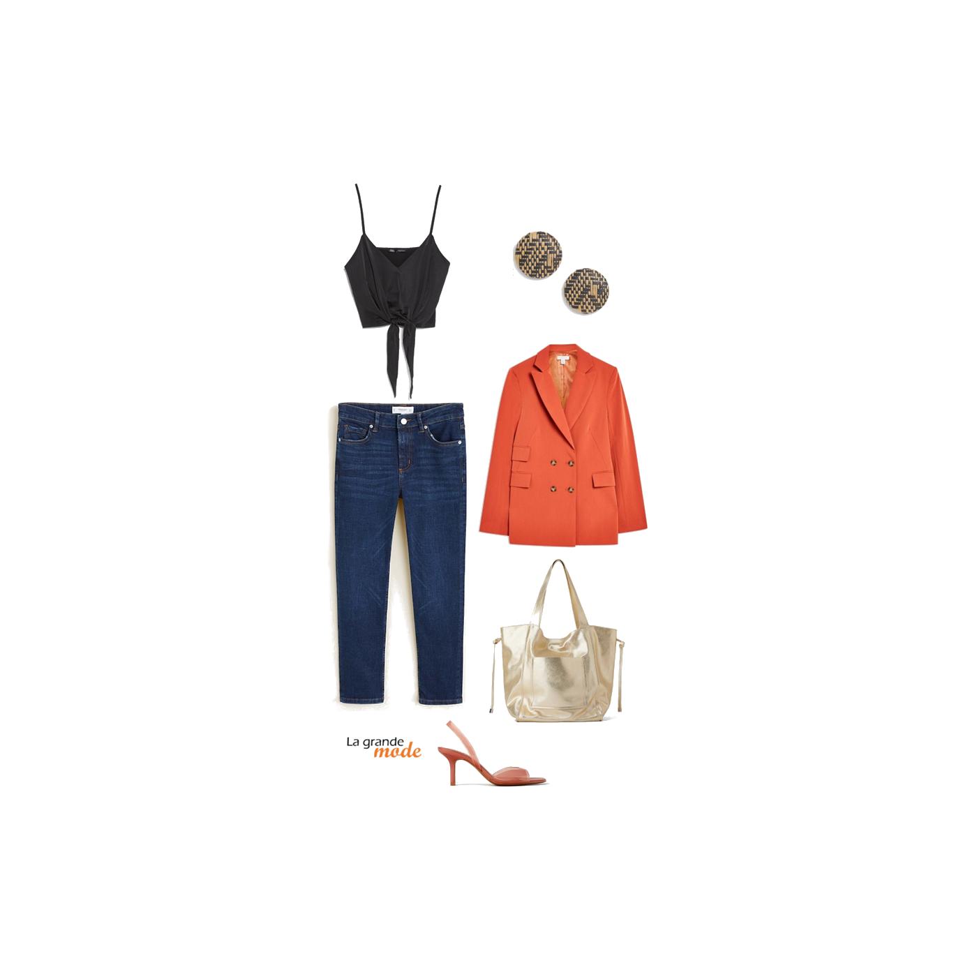 La Grande Mode - Idée look jean brut & veste orange - Tendance mode printemps été 2019