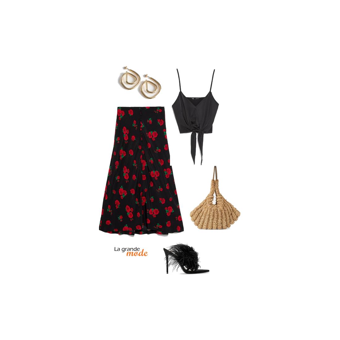 La Grande Mode - Idée look avec une jupe satinée et un top noué - Tendance mode printemps été 2019 - SS2019