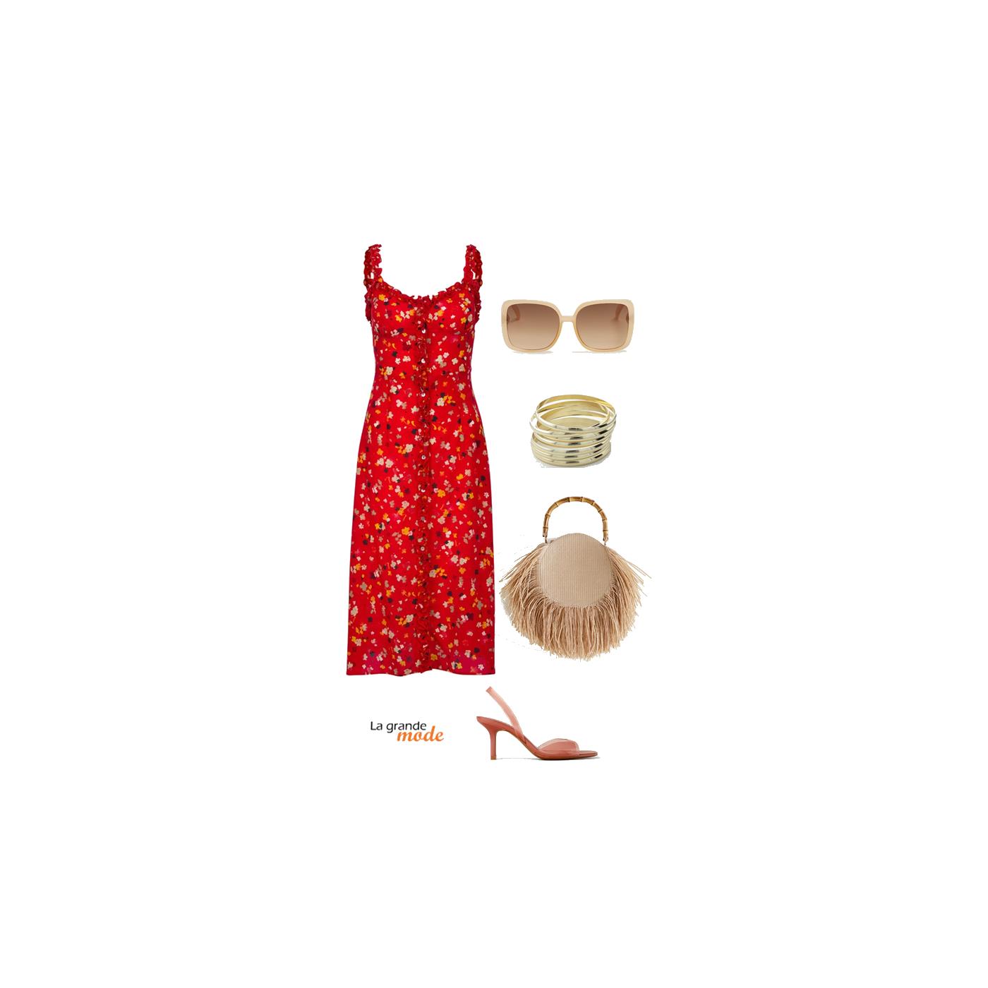 La Grande Mode - Idée look avec une robe à fleurs et un panier - Tendance mode printemps été 2019 SS2019 SS19