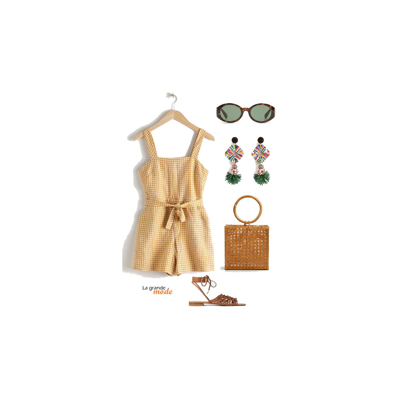 La Grande Mode - Idée look combishort et boucles d'oreilles pendantes - Tendance Mode printemps été 2019 - SS2019 - SS19