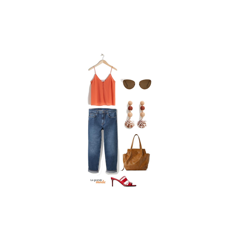 La Grande Mode - Idée look avec un jean boyfriend et un top style lingerie - Tendance mode printemps été 2019