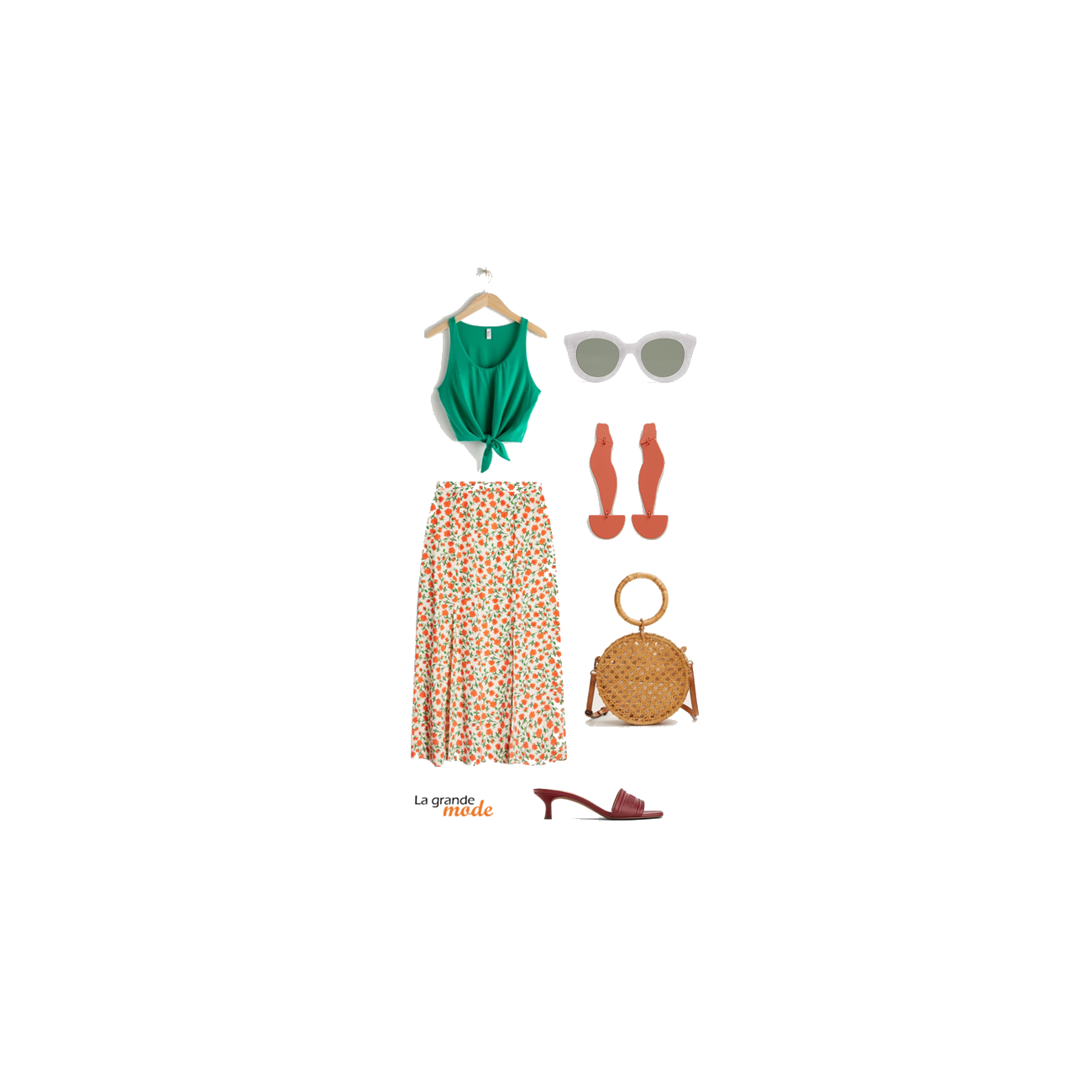 La Grande Mode - Idée look avec une jupe midi fleurie et un top noué - Tendance mode printemps été 2019