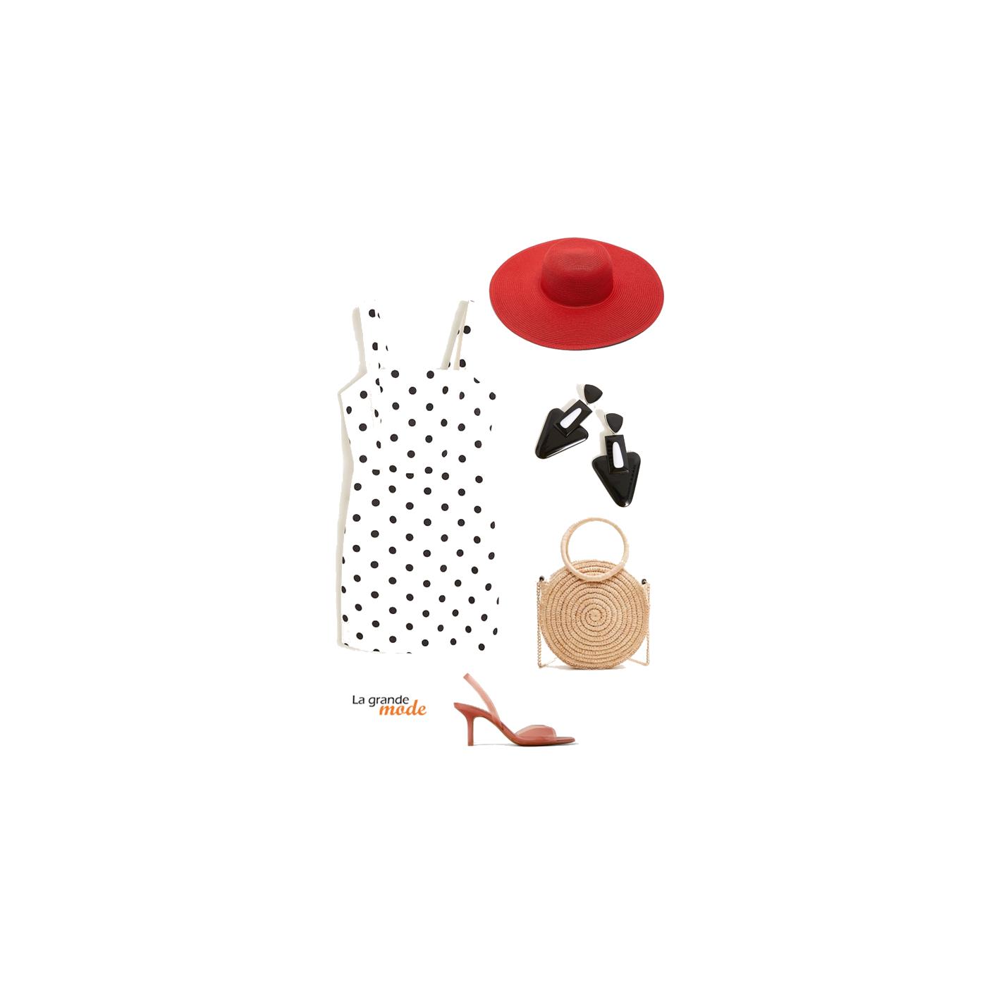 La Grande Mode - Idée look avec une robe à pois et une capeline - Tendance mode printemps été 2019