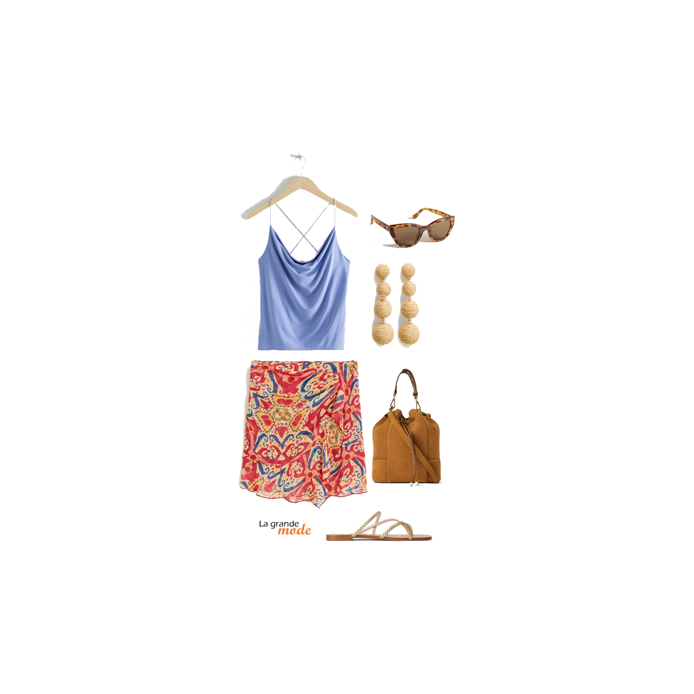 La Grande Mode - Idée look jupe imprimée & top lavande - Tendance mode printemps été 2019