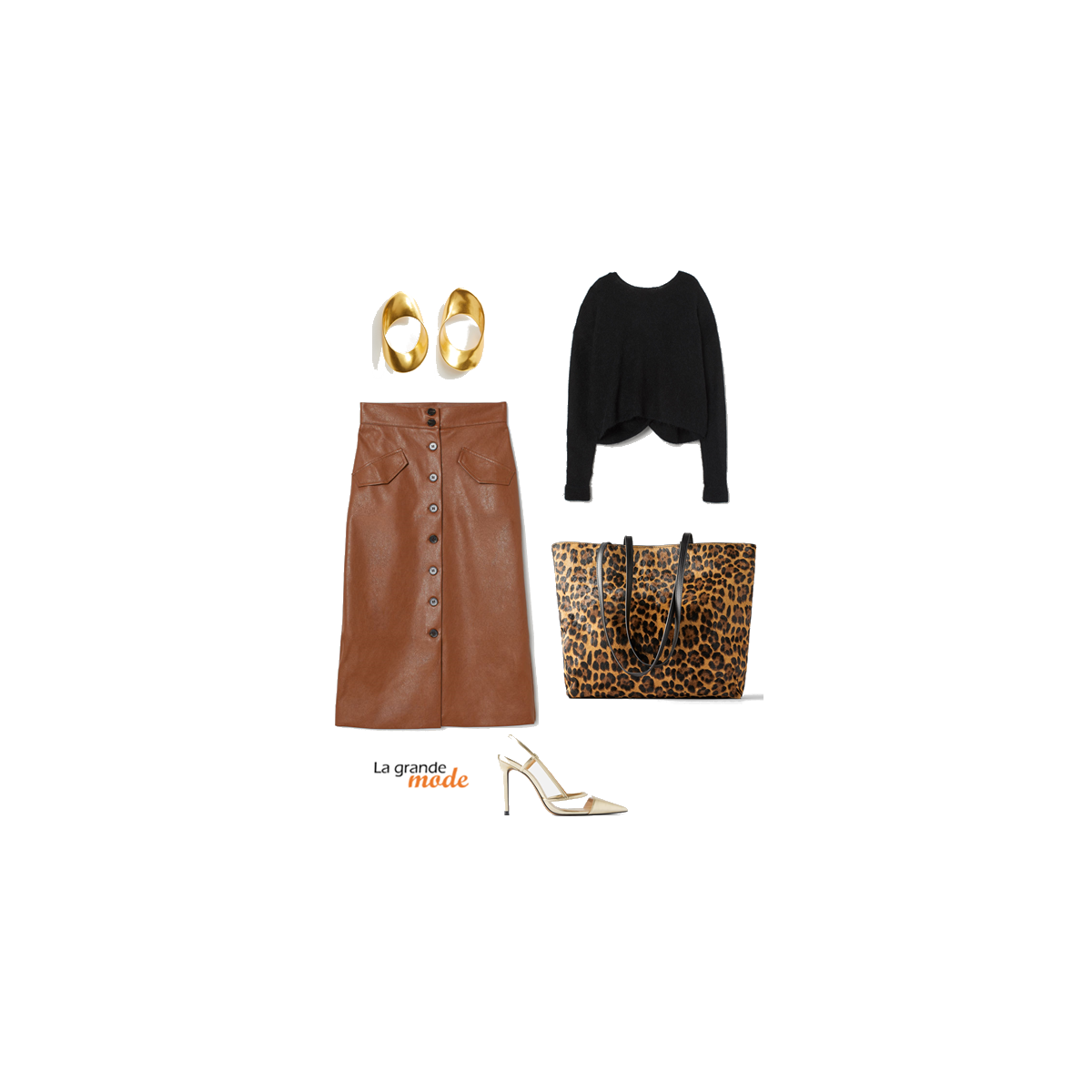 La Grande Mode - Idée look avec une jupe simili cuir - Tendance mode automne hiver 2019
