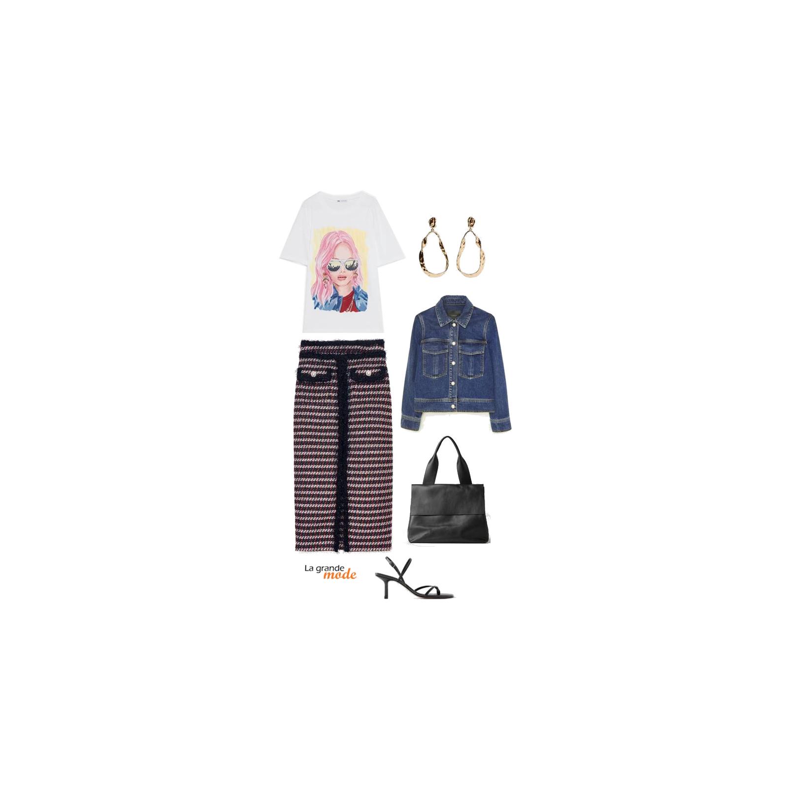 La Grande Mode - Idée look avec un t-shirt imprimé - Tendance mode automne hiver 2019