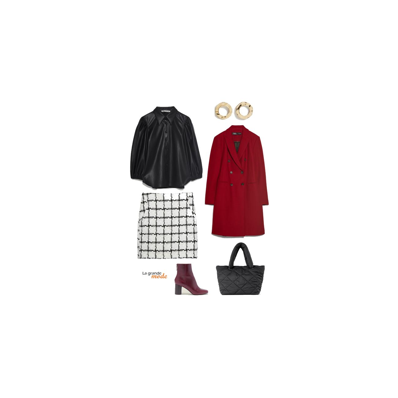 La Grande Mode - Idée look avec une jupe pied-de-poule et une chemise en cuir - Tendances mode automne hiver 2019