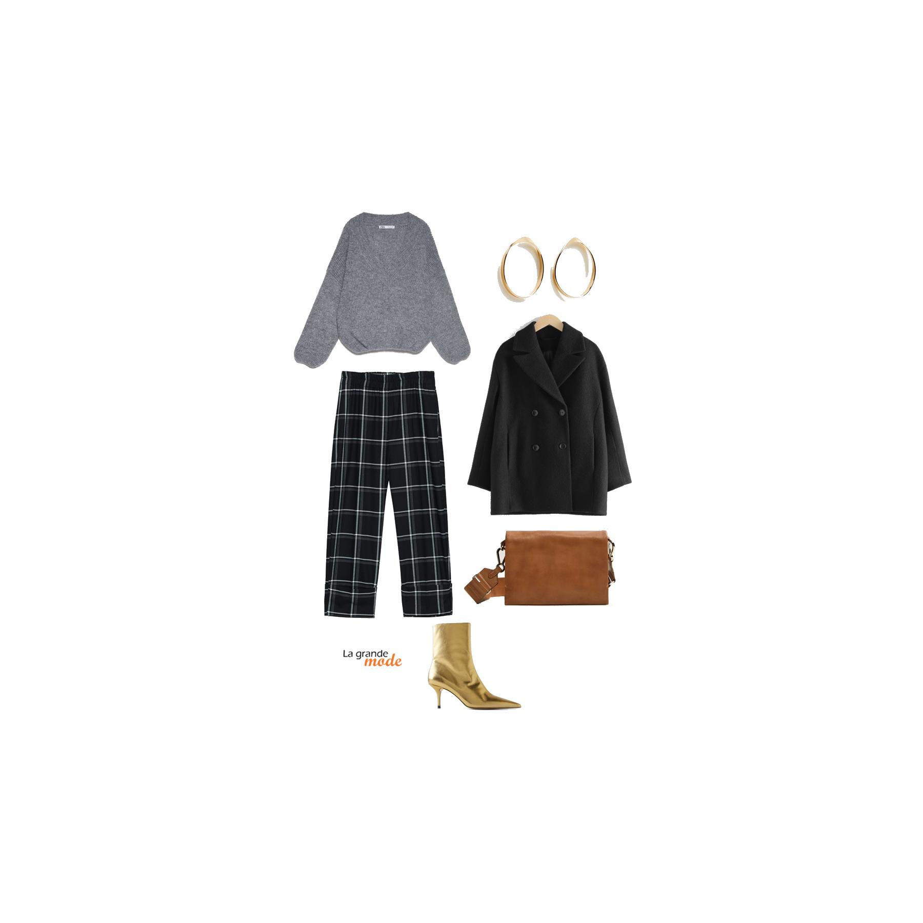 La Grande Mode - Idée look avec un pantalon à carreaux et des bottines dorées - Tendance mode automne hiver 2019